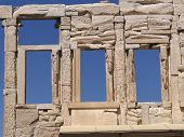 Ancient Greek temple wall and windows
