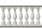 picture of balustrade  - Closeup Balustrade Pillars on a white background - JPG