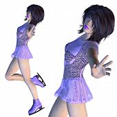 Figure Skater In Violet Dress
