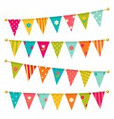 stock photo of school carnival  - Triangle bunting flags with flowers - JPG