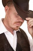 Cowboy Close Vest Hat Look Down Touch Hat