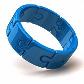 Blue 3d puzzle ring