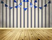 Light Blue Background With Blue Pennants Festoon