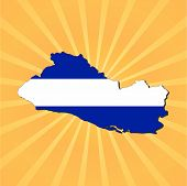El Salvador map flag on sunburst illustration
