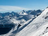 Skiing area in the Alps. winter landscape