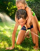 Little girl and boy palying with lawn sprinkler