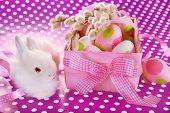 Easter Basket With Eggs And White Bunny