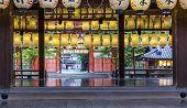 Rows Of Colourful Paper Lanterns At Shinto Shtine, Kyoto, Japan