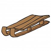 wooden sleighs cartoon doodle
