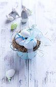 White Easter eggs in a Nest
