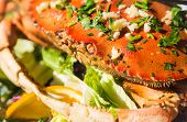 stock photo of cooked crab  - Closeup view of cooked crab with nobody - JPG