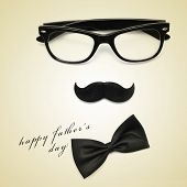 sentence happy fathers day and glasses, mustache and bow tie forming a man face in a beige backgroun