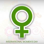 International Happy Women's Day celebration concept with women symbol in green colour on grey background.