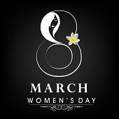 Happy Women's Day celebrations concept with stylish text on black background.