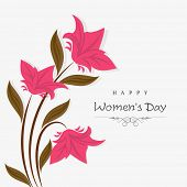 Happy Women's Day celebrations greeting card design decorated with beautiful flowers on abstract background.