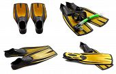 Set Of Yellow Swim Fins, Mask, Snorkel For Diving With Water Drops