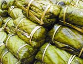 Khao Tom Mad - Thai  Dessert, Made From Banana And Glutinous Rice, Wrap With Banana Leaf