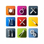 Vector Buttons: Cogs, Gears, Screwdriver, Pincers, Spanner, Hand Wrench Tools, Knife, Fork