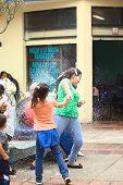 Spraying Foam at Carnival in Banos, Ecuador