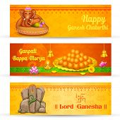 illustration of banner for Ganesh Chaturthi with text Ganpati Bappa Morya (Oh Ganpati My Lord)