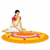 illustration of woman making rangoli for onam