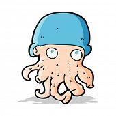 cartoon alien head wearing hat
