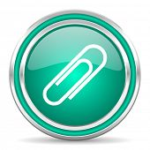 paperclip green glossy web icon