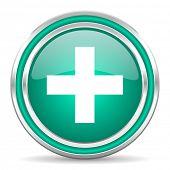 plus green glossy web icon