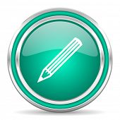 pencil green glossy web icon
