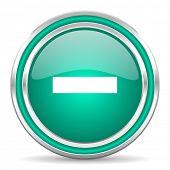 minus green glossy web icon
