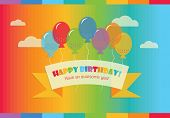 Happy Birthday! message banner with floating rainbow balloons