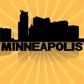 Minneapolis skyline reflected with sunburst vector illustration