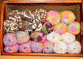 colorful variegated yarn in a basket