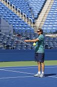 Sam Sumyk, the coach of two times Grand Slam champion Victoria Azarenka during practice for US Open