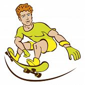 Happy Cartoon Skateboard Boy Wearing