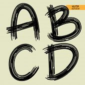 art sketched set of vector character handmade graphic black fonts, uppercase symbols, letters A, B,