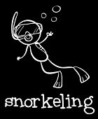 Illustration of a stickman snorkeling