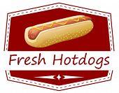 Illustration of a fresh hotdog label on a white background