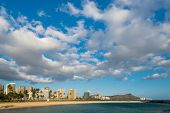 View Of Diamond Head From Ala Moana Beach Park's Magic Island Across Ala Wai Canal
