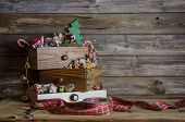 Wooden Christmas Background In Vintage And Nostalgia Style.