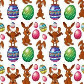 Illustration of an Easter seamless design on a white background