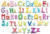 Illustration of colorful english alphabets