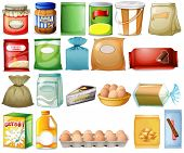 pic of staples  - Illustration of a set of foods on a white background - JPG
