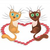 Cartoon cats which is in love