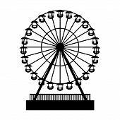 Silhouette Park Atraktsion Ferris Wheel. Vector