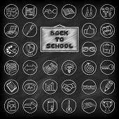 Hand drawn school buttons set.
