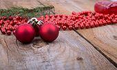 Christmas Decoration On Rustic Wood