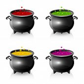 Set Of Halloween Cauldrons