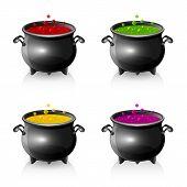 Set Of Halloween Cauldrons