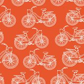 Seamless pattern with hand drawn vintage bicycles